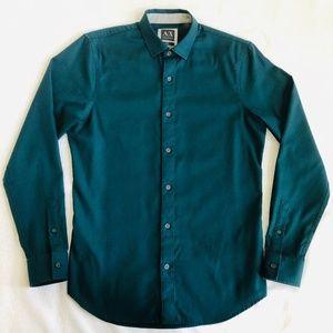 Armani Exchange Dress Shirt Slim Fit S Pine Green